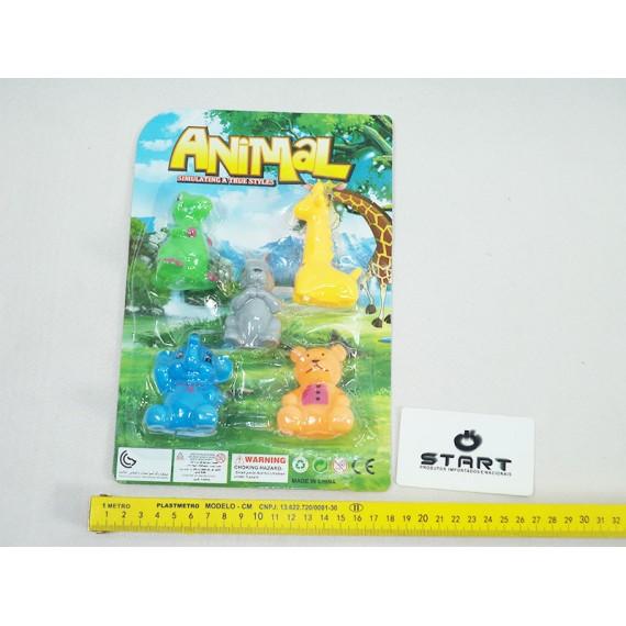 Kit Mini Animais em Vinil Cartela 5 Peças