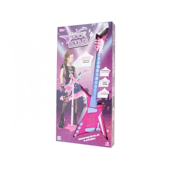 Guitarra Rock Star Musical com Microfone  a Pilha