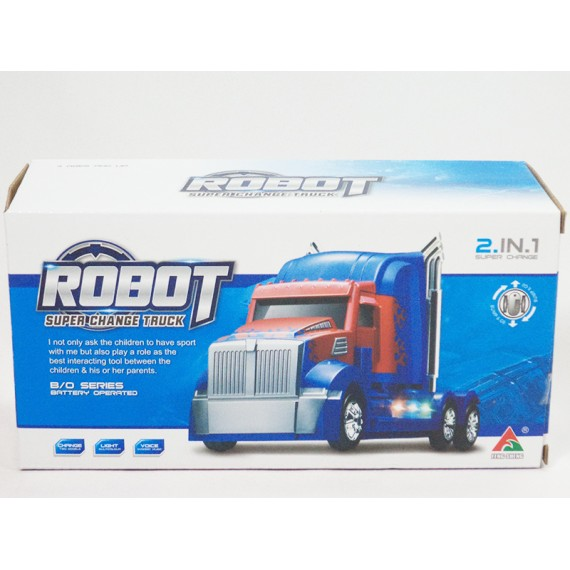 Caminhão 2 em 1: Carreta, Robô, Luz, Som e Movimento