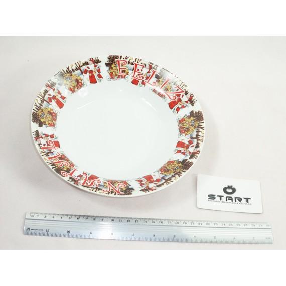 Kit com 6 Pratos Decorados de Natal em Porcelana - Tam. 23cm