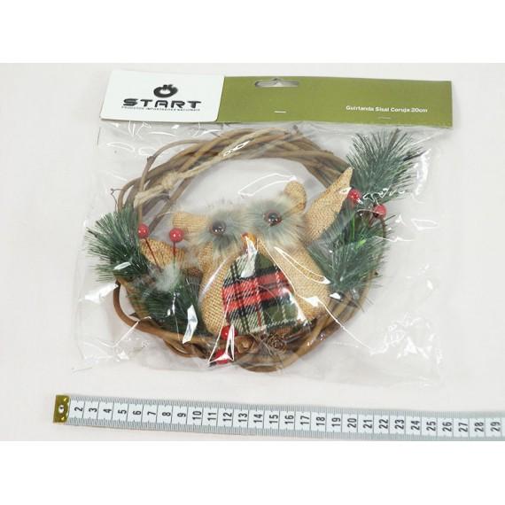 Guirlanda Sisal Coruja de Natal 20cm