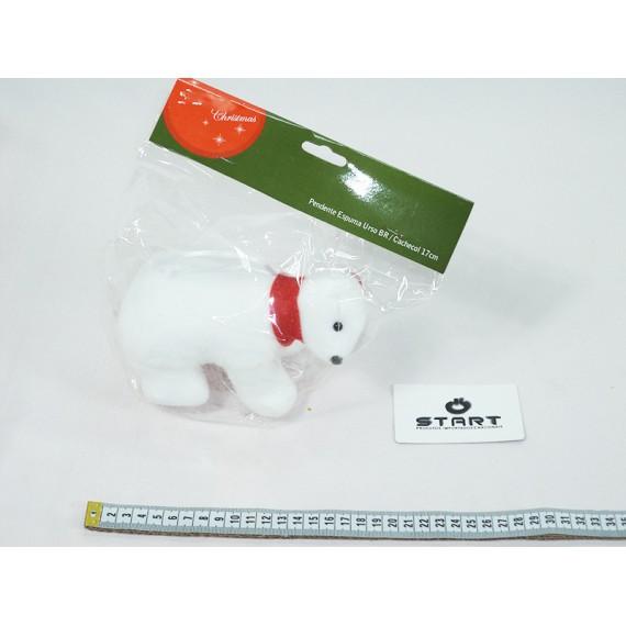Pendente Urso Branco com Cachecol Tam. 17cm