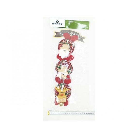 Enfeite de Natal Placa 3 Bonecos 50cm