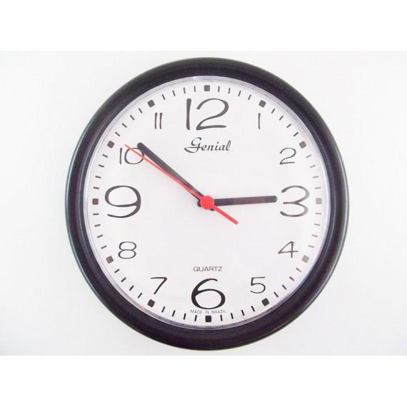 Relógio de Parede Redondo com Imagens Genial Preto