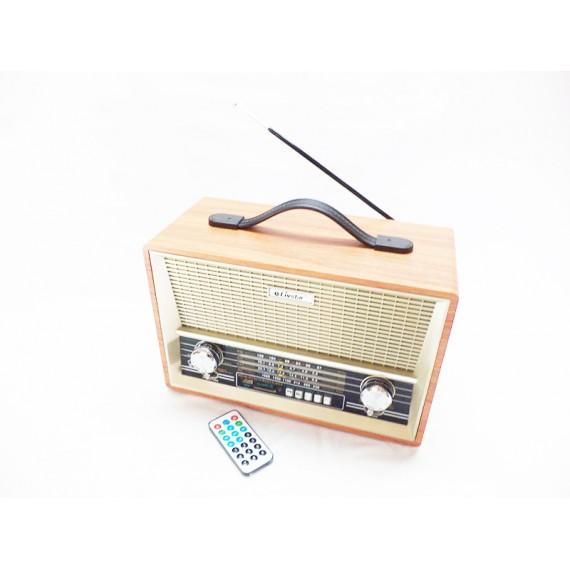 Rádio Estilo Retrô Recarregável AM/FM/SW1/SW2/USB e Bluetooth