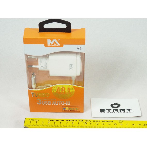 Carregador Rápido de Celular TURBO 4.8 A (Conector V8) 110/220 V - 3 Saídas USB