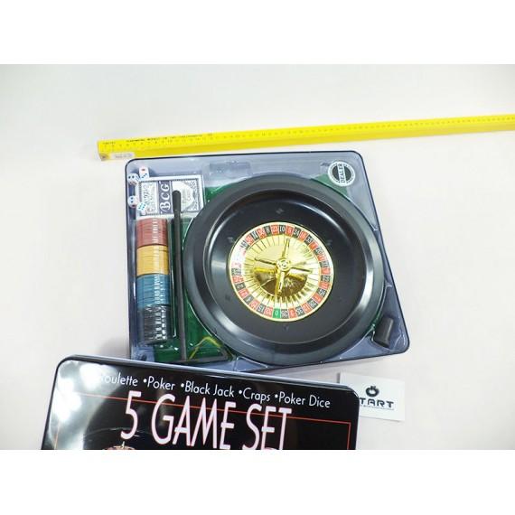 Jogos na Caixa de Metal: 5 Jogos(Poker, Roulette, Black Jack, Craps, Poker Dice)