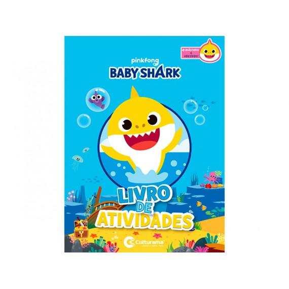 Livro de Atividades Diversão com Adesivos e Máscara Baby Shark