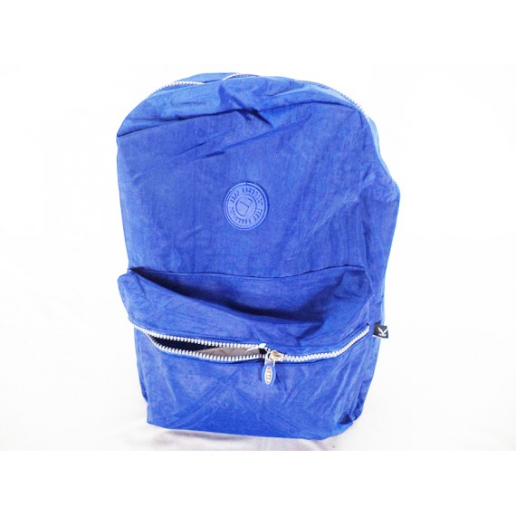 Mochila de Nylon Lisa Azul com 2 Zíperes